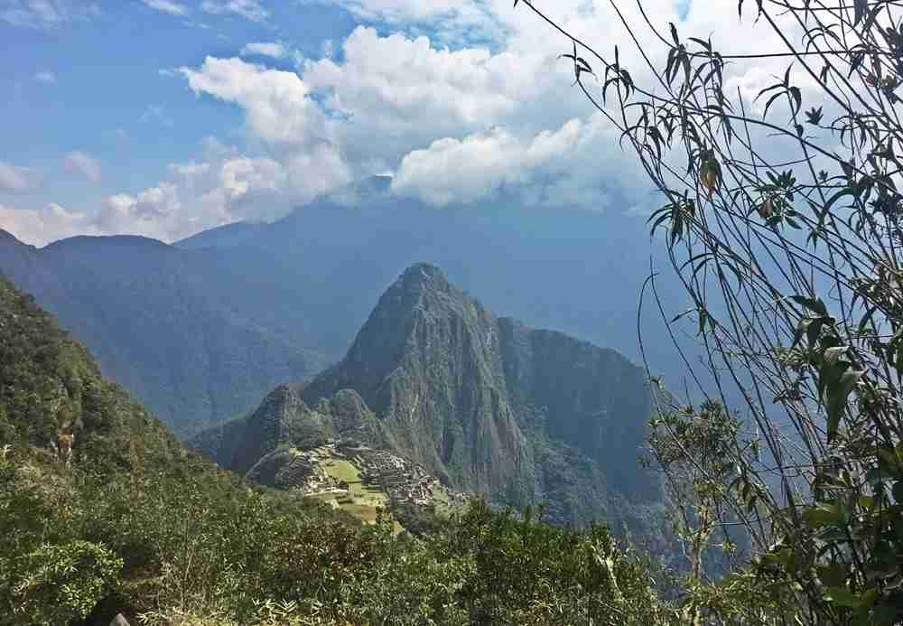 A first glimpse of Huayna Picchu and Machu Picchu.