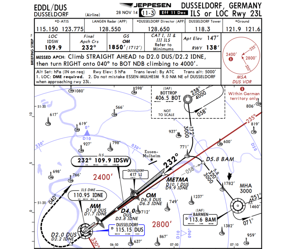 23L missed approach graphic