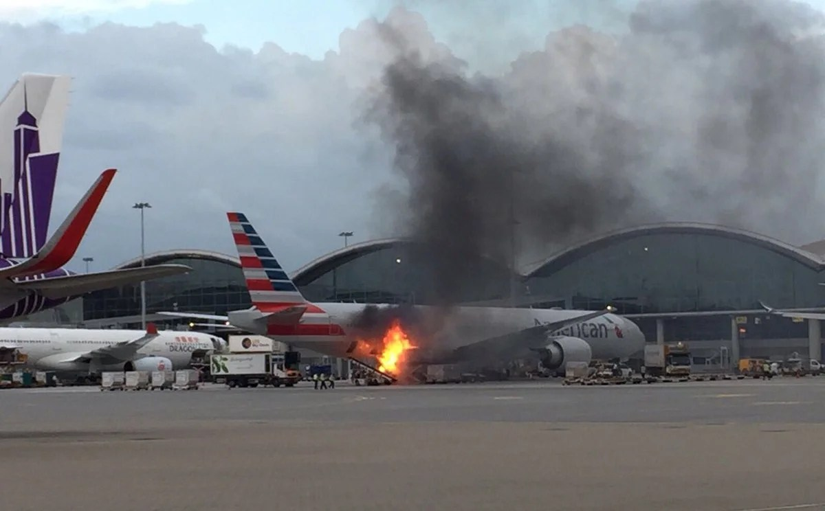 American Airlines Cargo Fire In Hong Kong Caught On Tape
