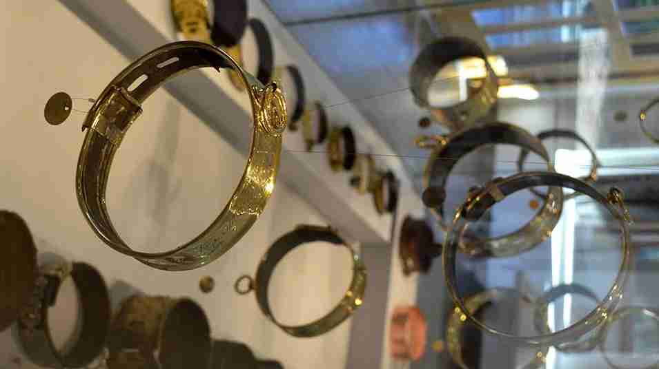 Vintage gold dog collars. Image from the Leeds Castle Dog Collar Museum exhibition.