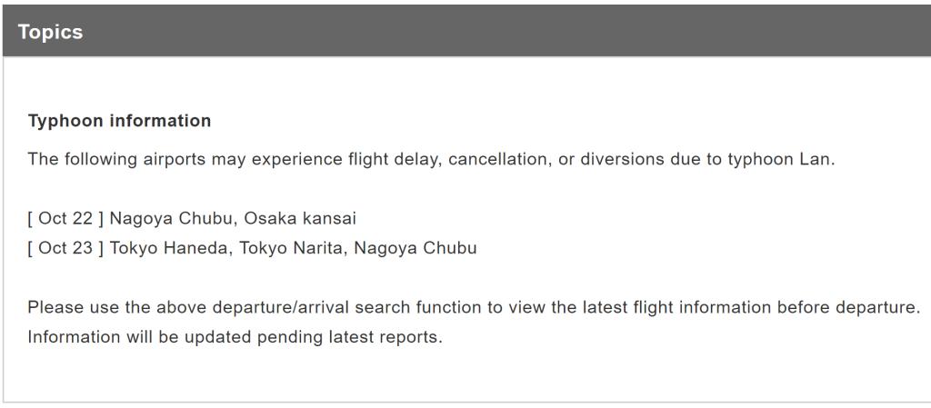 JAL Typhoon Lan