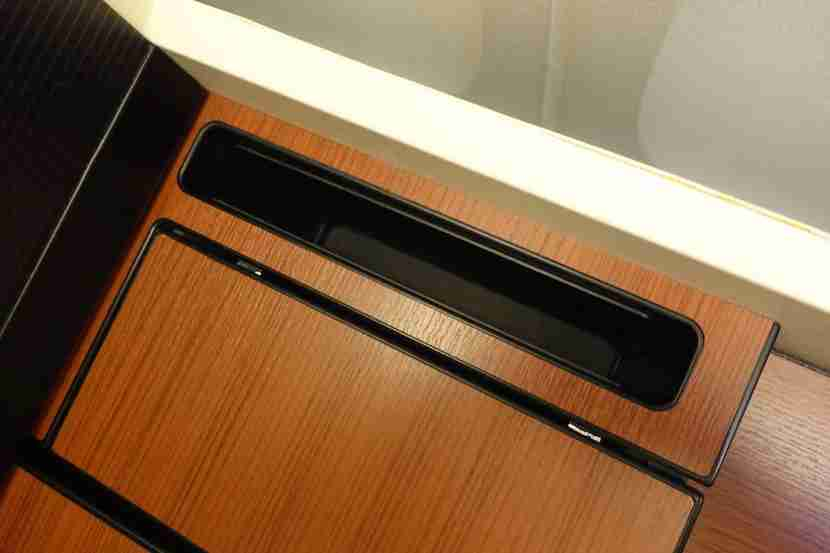 JAL first class tablet cubby