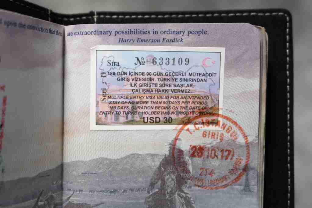 Turkey visa stamped