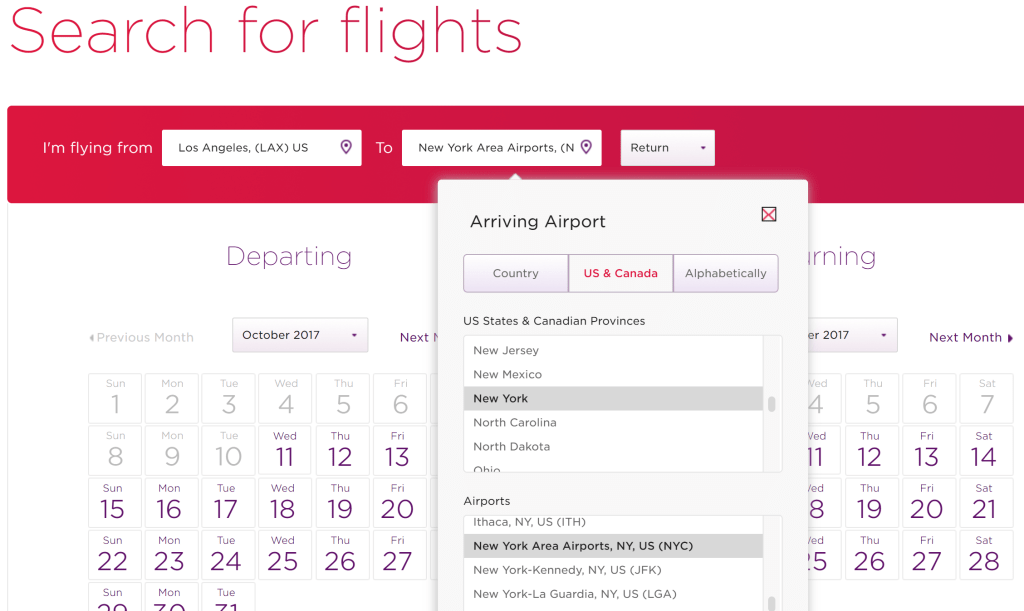 Virgin Atlantic search tips