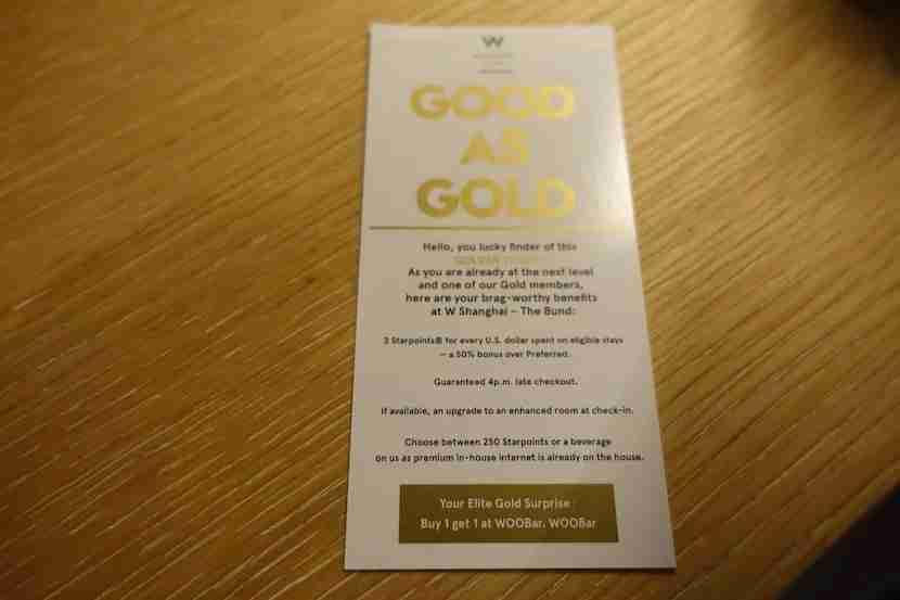 W Shanghai gold ticket