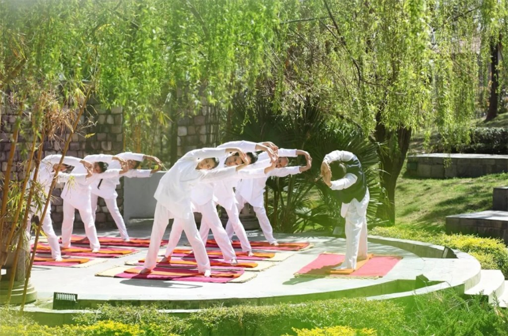 Daily sessions with yoga masters are part of the program at Ananda. Image courtesy of Ananda in the Himalayas.
