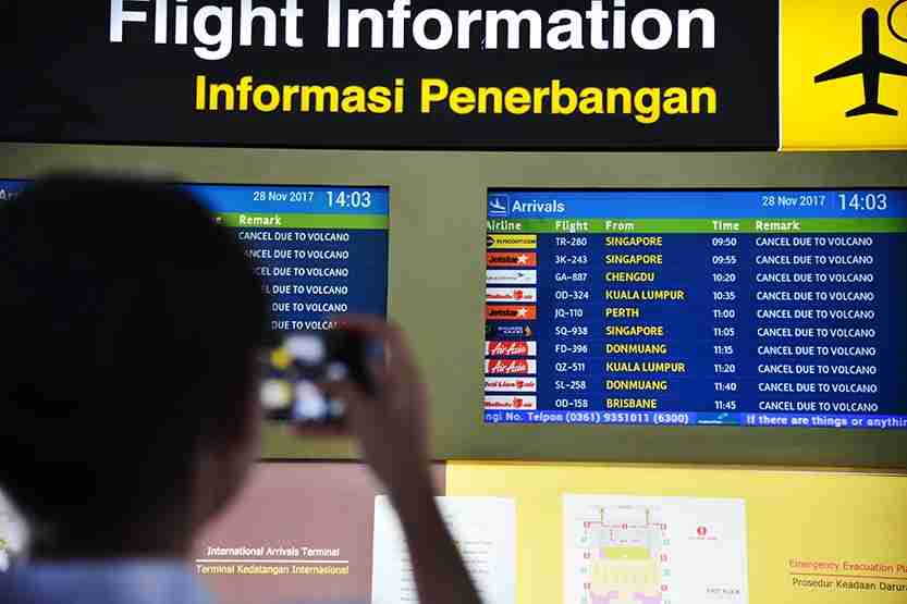 A flight information board shows the list of delayed flights due to the volcano at the Ngurah Rai International airport in Denpasar, Bali. Photo by JUNI KRISWANTO/AFP/Getty Images