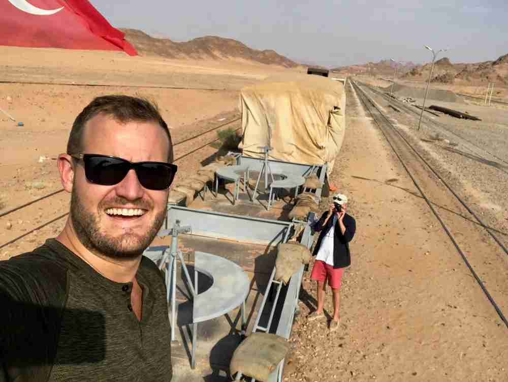 Selfies on the Lawrence of Arabia train.