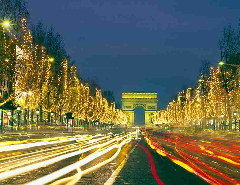 Champs Elysees decorated for Christmas, Paris, France.