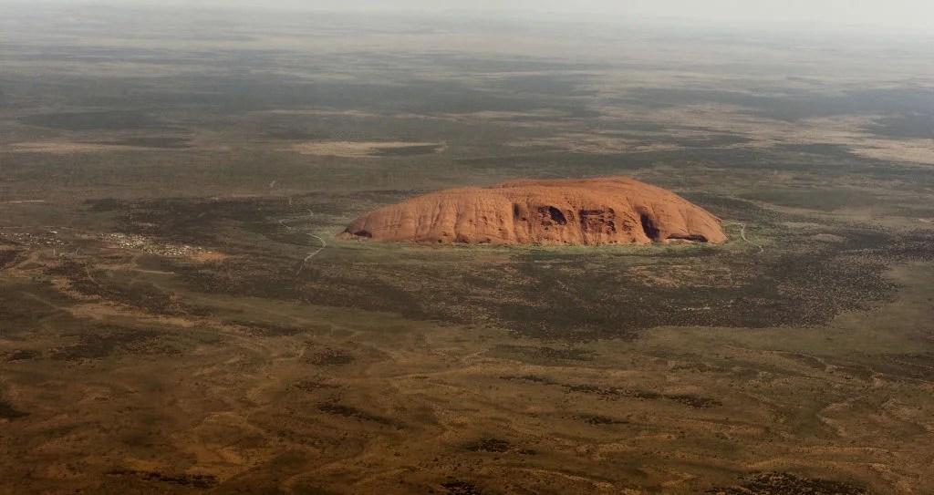 Aerial view of Uluru (Ayer