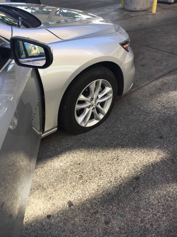 The California highway was not kind to this Chevy Malibu tire.