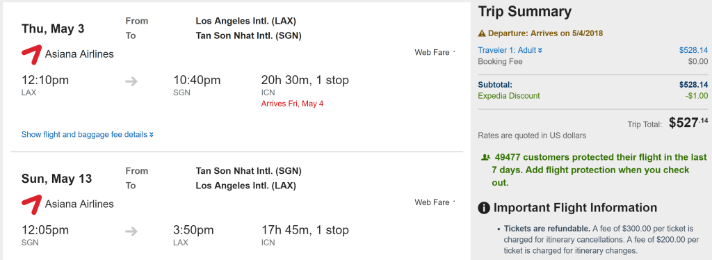 LAX-SGN $527 Asiana