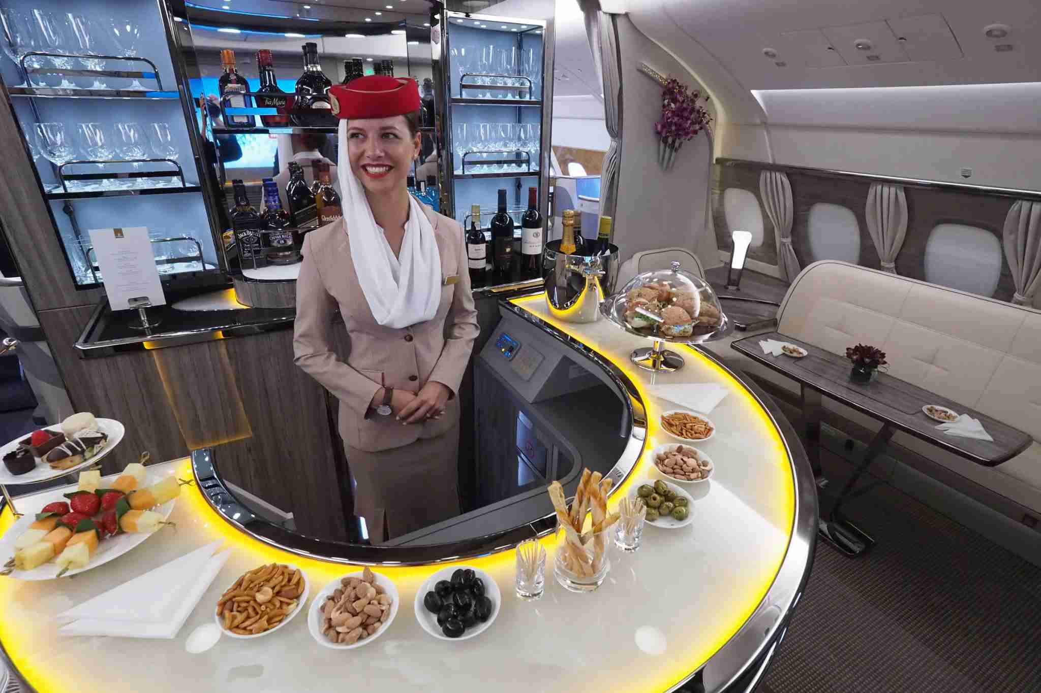 The bar on board Emirates