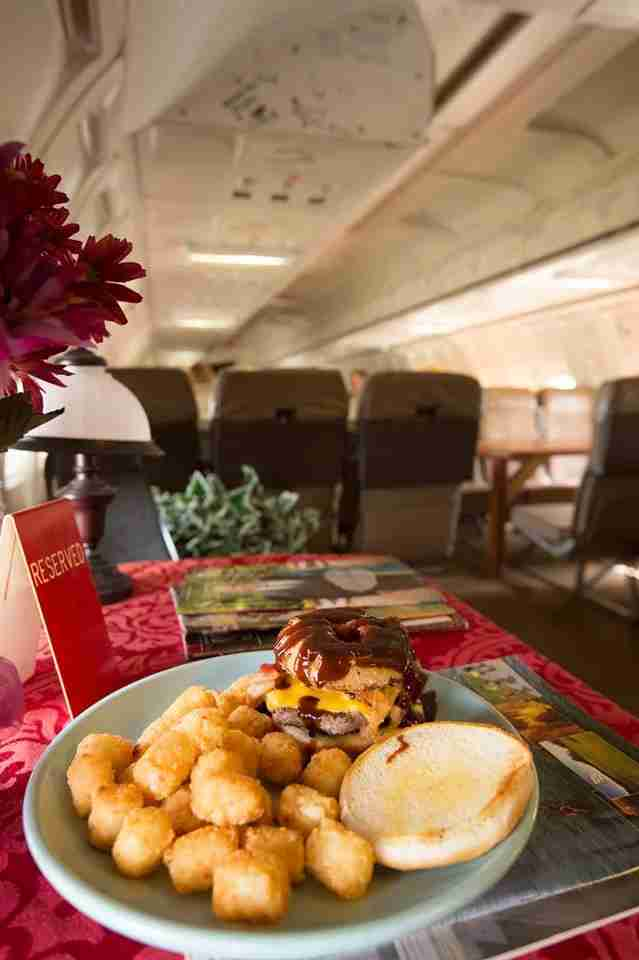 You can actually dine on a 737 aircraft at Parachute in Alabama. Image by the Parachute Facebook page from Arkansas State Tourism.