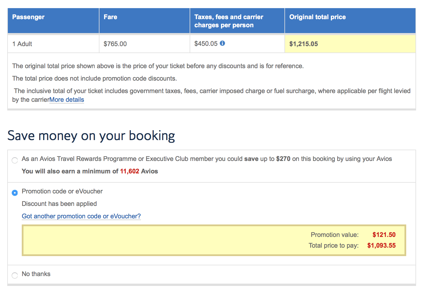 I made a mistake and forgot about the BA Visa offer for 10% off!