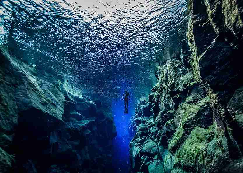 Snorkeling between the tectonic plates at Silfra. Image credit: Getty Images.