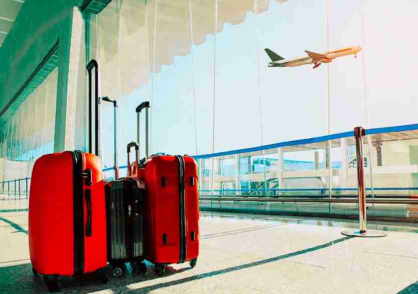 red suitcase, suitcase, roller, airport