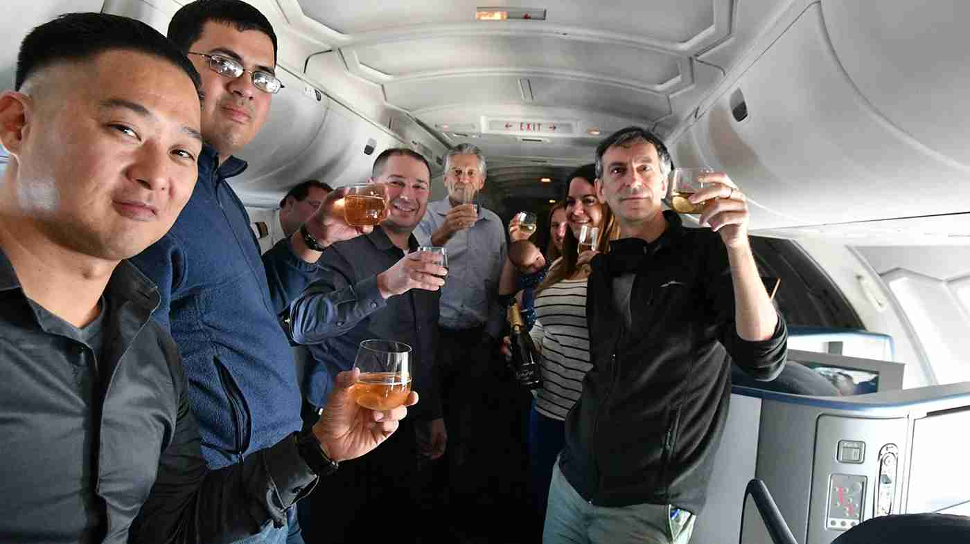 Eight AvGeeks, a baby, a bottle of champagne and a legendary aircraft.