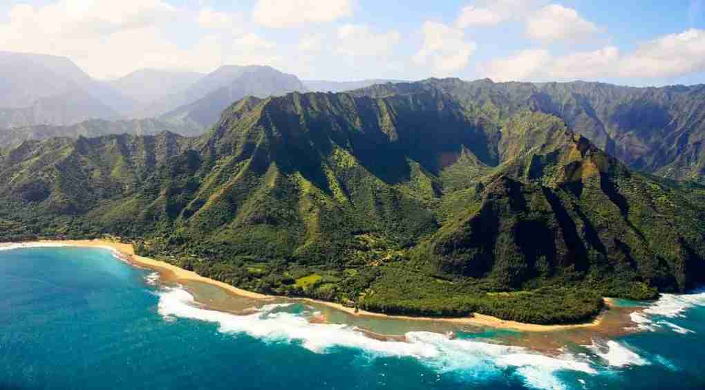 View of the Na Pali Coast as seen from from helicopter on the island of Kauai in Hawaii. (Photo by Paul Mounce/Corbis via Getty Images)