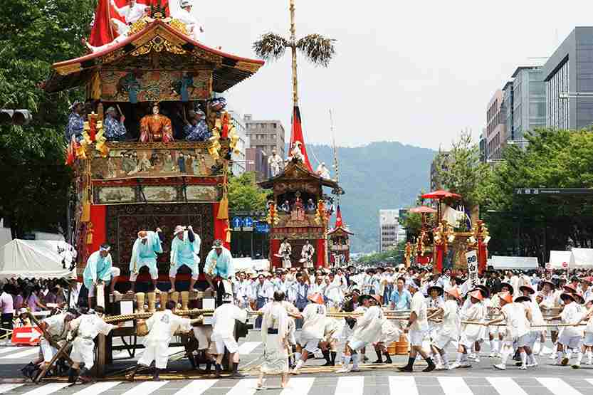 People enjoying Gion festival Kyoto Japan