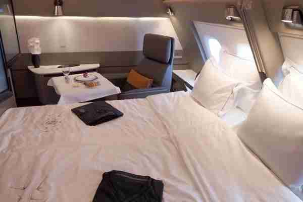 New Singapore Suites first class with a double bed configuration