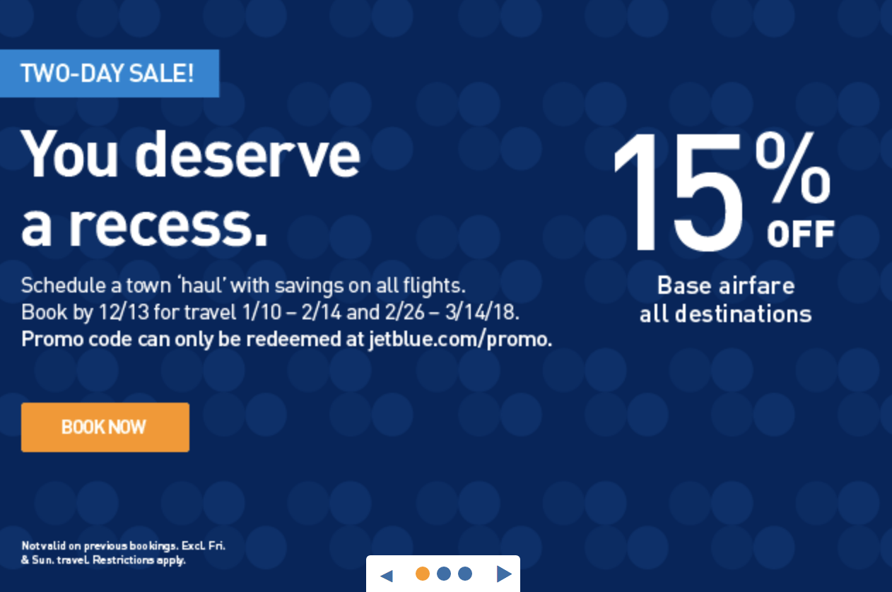 jetblue flash sale 15 off base airfare for a limited time. Black Bedroom Furniture Sets. Home Design Ideas