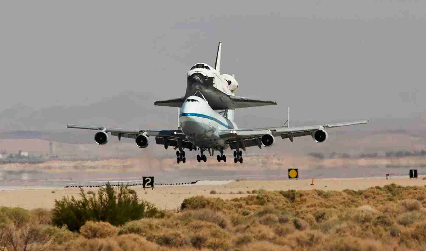 Space shuttle Endeavour, mounted aboard a Boeing 747 Shuttle Carrier Aircraft, has touched down safely at Edwards Air Force Base, where it will remain overnight before heading for Los Angeles International Airport. (Photo by Ted Soqui/Corbis via Getty Images)