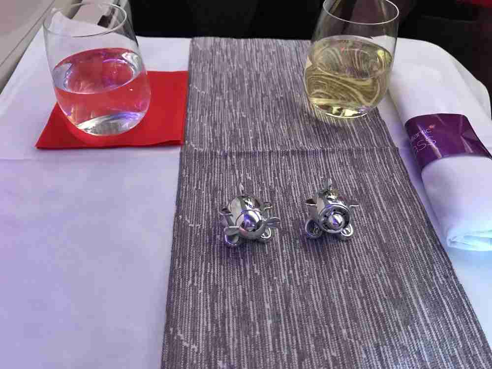 My family and I loved the aviation-themed salt and pepper shakers on Virgin Atlantic