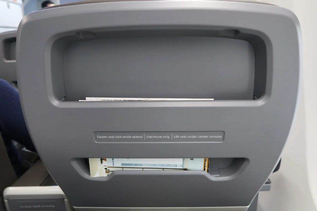 Seatback of AA 737 MAX first class seat. Photo by JT Genter / The Points Guy