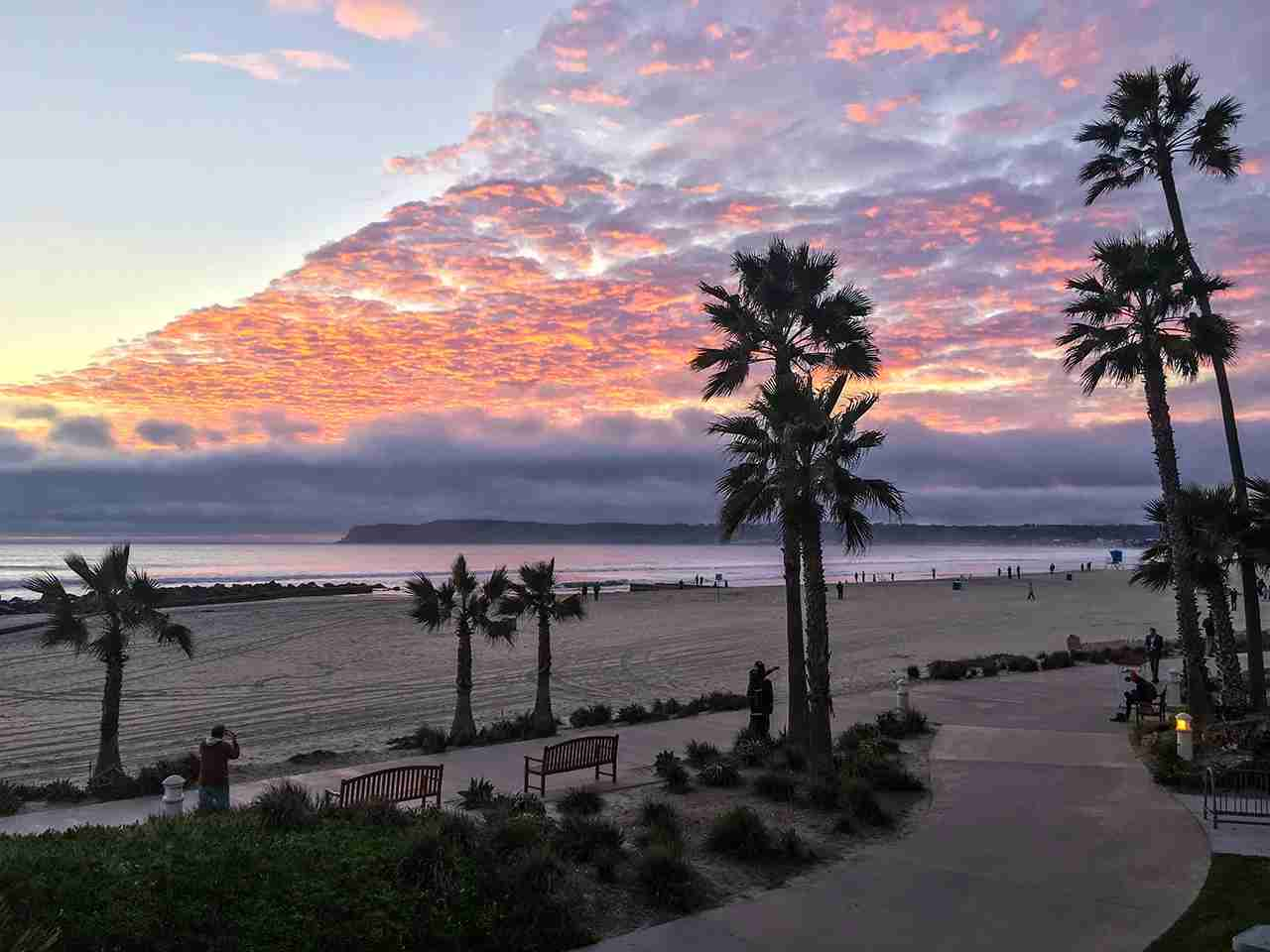 Sunset on Coronado Island Beach, California, USA