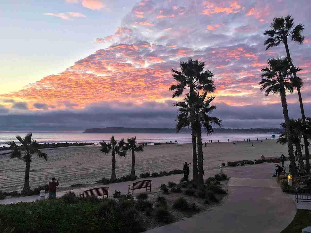 Sunset on Coronado Island Beach in San Diego, California. (Photo by anouchka / Getty Images)