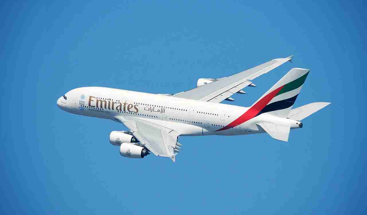 An Emirates A380 taking off from New York