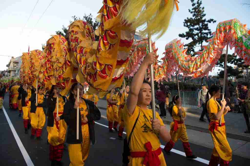 A lion dance team performs during San Francisco