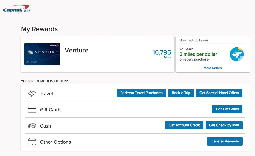 How to redeem capital one venture miles there youll be presented with four redemption options you can use your miles for travel gift cards cash or transfer them to another account colourmoves