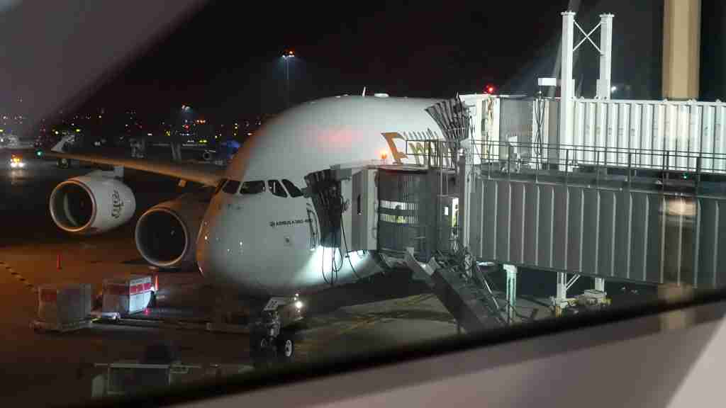 Emirates A380 exterior in New York (JFK).
