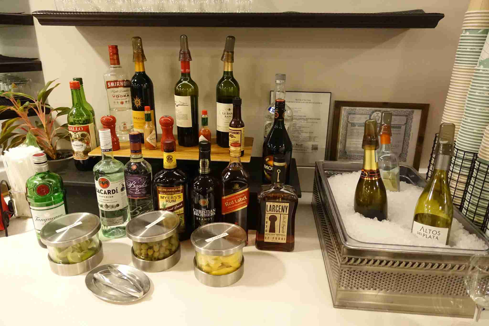 Liquor selection at the Wingtip Lounge at New York JFK, a Priority Pass lounge.