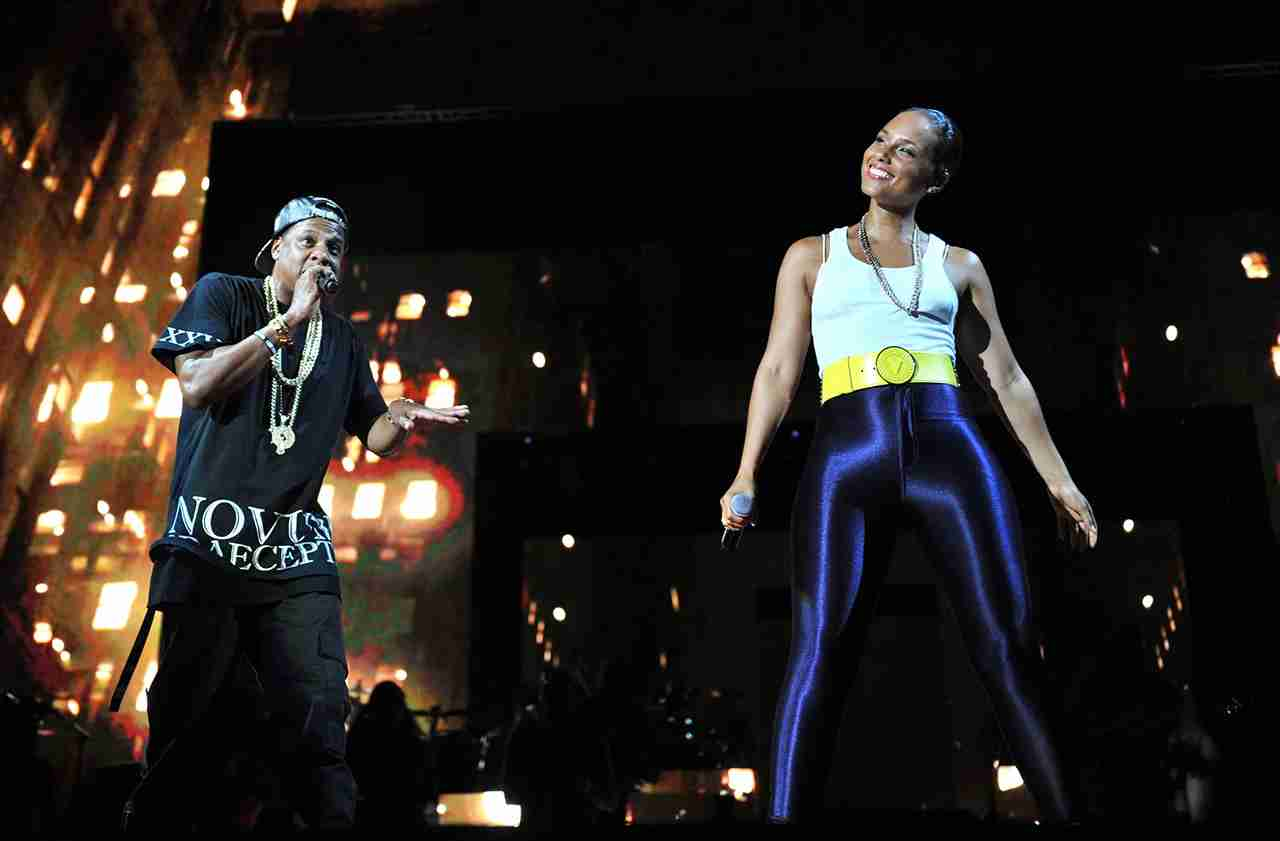 Jay-Z and Alicia Keys perform together. (Photo by Kevin Mazur/WireImage)