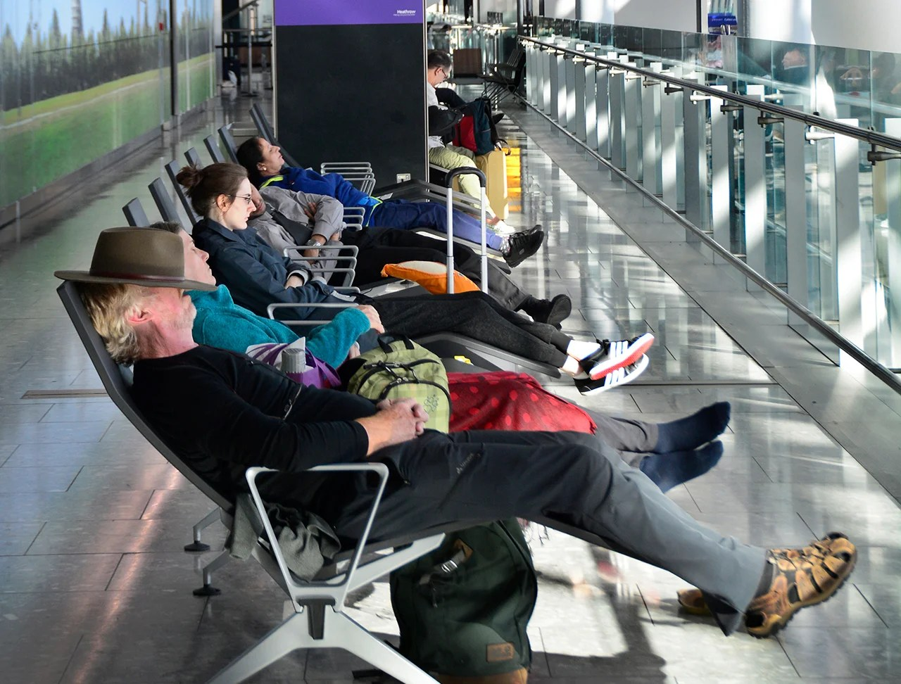 Gate bench armrests are the second dirtiest place at the airport, with an average of 21,630 CFU/sq. (Photo by Robert Alexander/Getty Images)