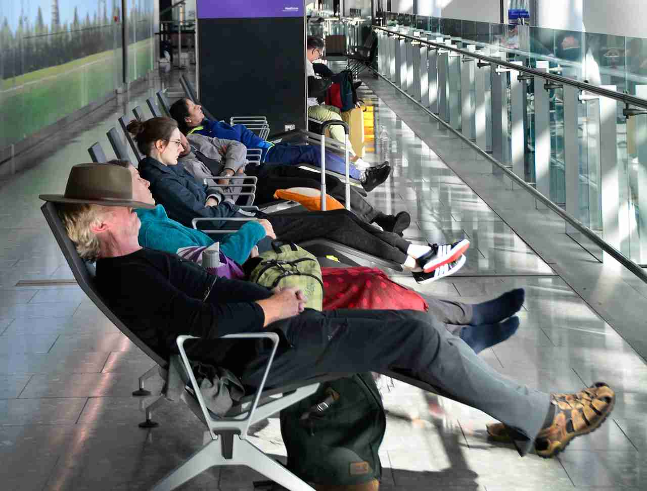 Gate bench armrests are the second dirtiest place at the airport, with an average of21,630 CFU/sq. (Photo by Robert Alexander/Getty Images)