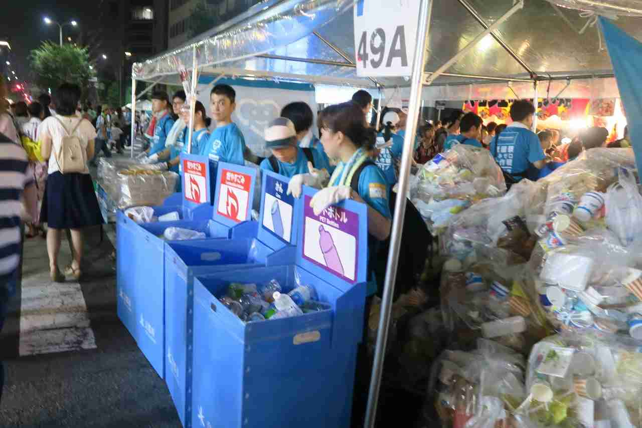 Local students happily manned recycle stations at