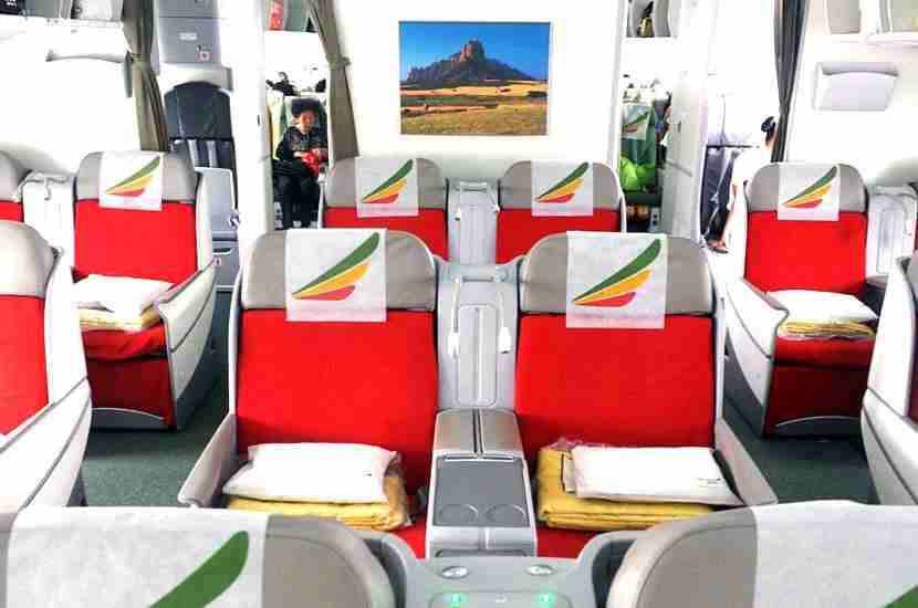 The business-class cabin on Ethiopian