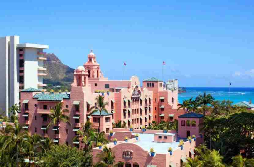 The color pink dominates every corner of this famed property on Waikiki Beach. Photo courtesy of The Royal Hawaiian