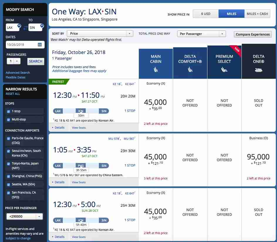 There are options to get from LAX to Singapore in business class, but they are on China Eastern. Those looking to fly in China Airlines superior business class will have to trick the system a little bit to find award space.
