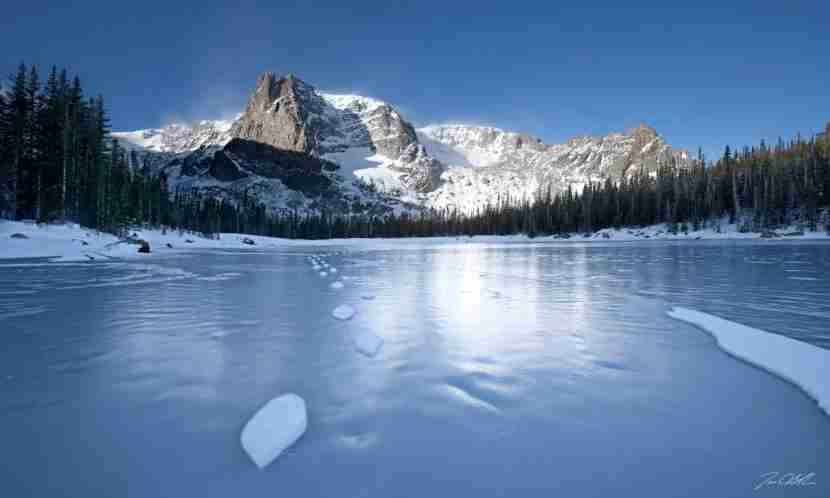 This shot is taken from Two Rivers Lake in Rocky Mountain National Park highlighting Notchtop Mountain. Photo by on Blake Photography// . Getty Images