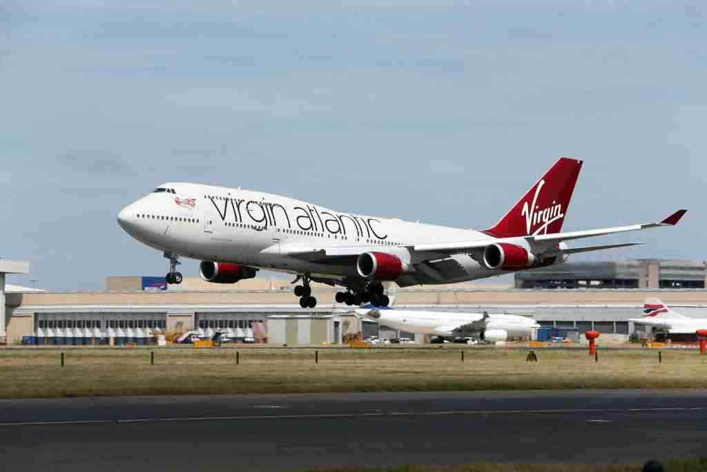 A Virgin Atlantic 747 plane lands at Heathrow Airport (Photo by Steve Parsons/PA Images via Getty Images)