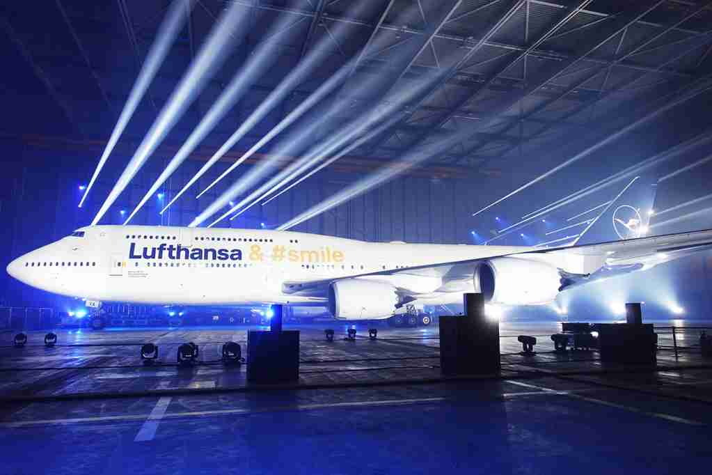 The Lufthansa 747 sporting the new livery. Image by Brendan Dorsey / The Points Guy.