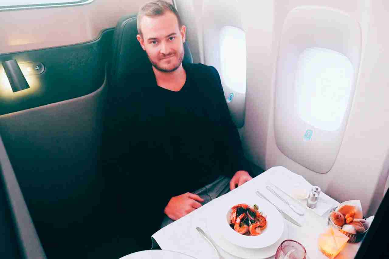 Qatar-Airways-unveiling-ceremony-TPG-testing-seat-eating
