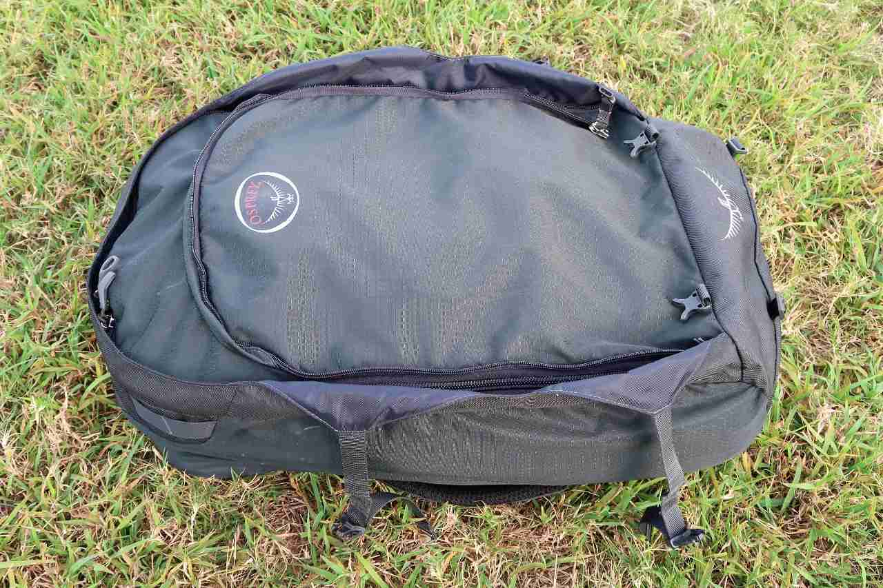 The main backpack without the day pack attached.
