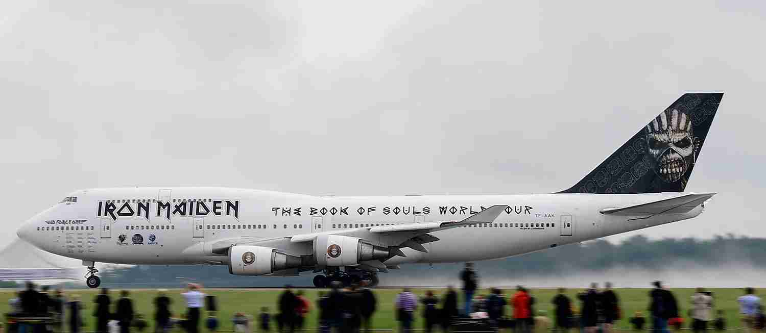 The Iron Maiden 747-400 takes off from the Schoenefeld airport near Berlin, on June 1, 2016. Photo by Tobias Schwarz /AFP/Getty Images)