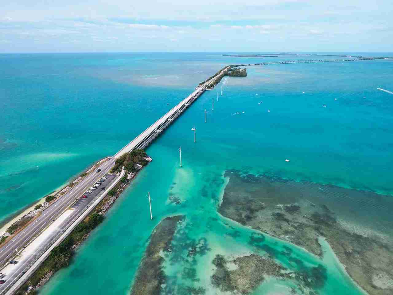 Aerial image of the Overseas Highway Florida Keys. (Photo by felixmizioznikov / Getty Images)